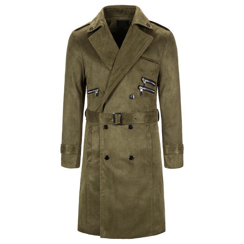 الرجال جاكيتات الرجال الحنونة النمط البريطاني كلاسيكي خندق معطف سترة مزدوجة الصدر طويل سليم أبلى تعديل حزام سترة واقية معاطف