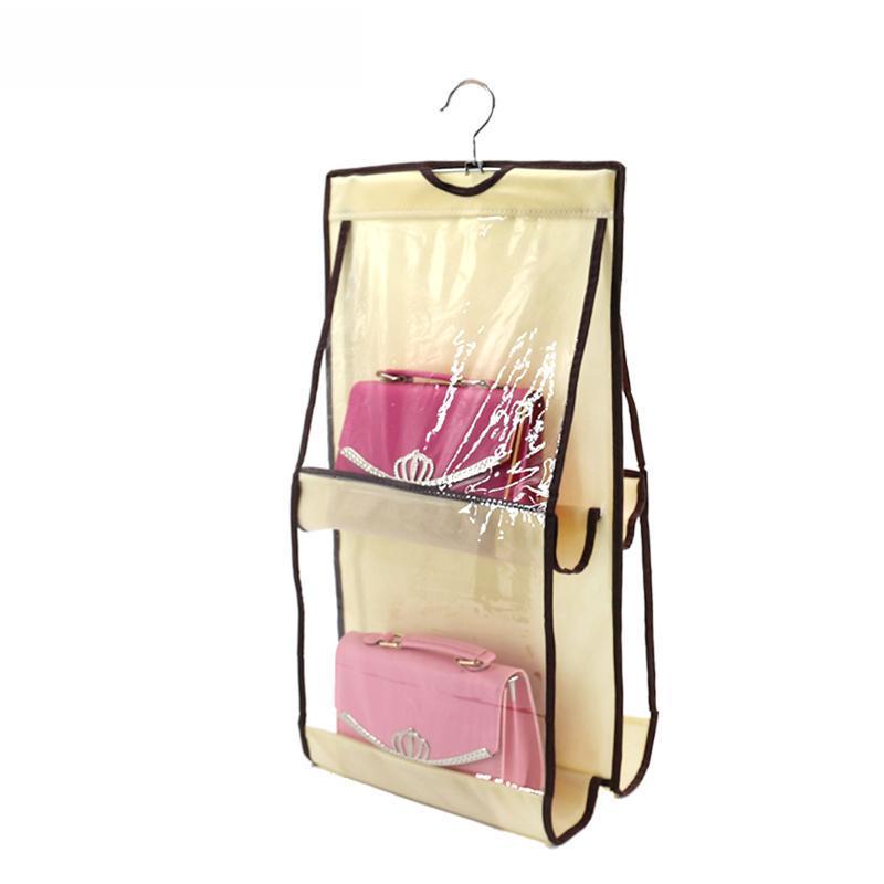 Pocket Организация Стойка Вешалки Шкаф Чехол Tidy пылезащитный Подвесные Женщины Сумка Tote Сумка Кошелек для хранения Организаторы Ящики Box Bins