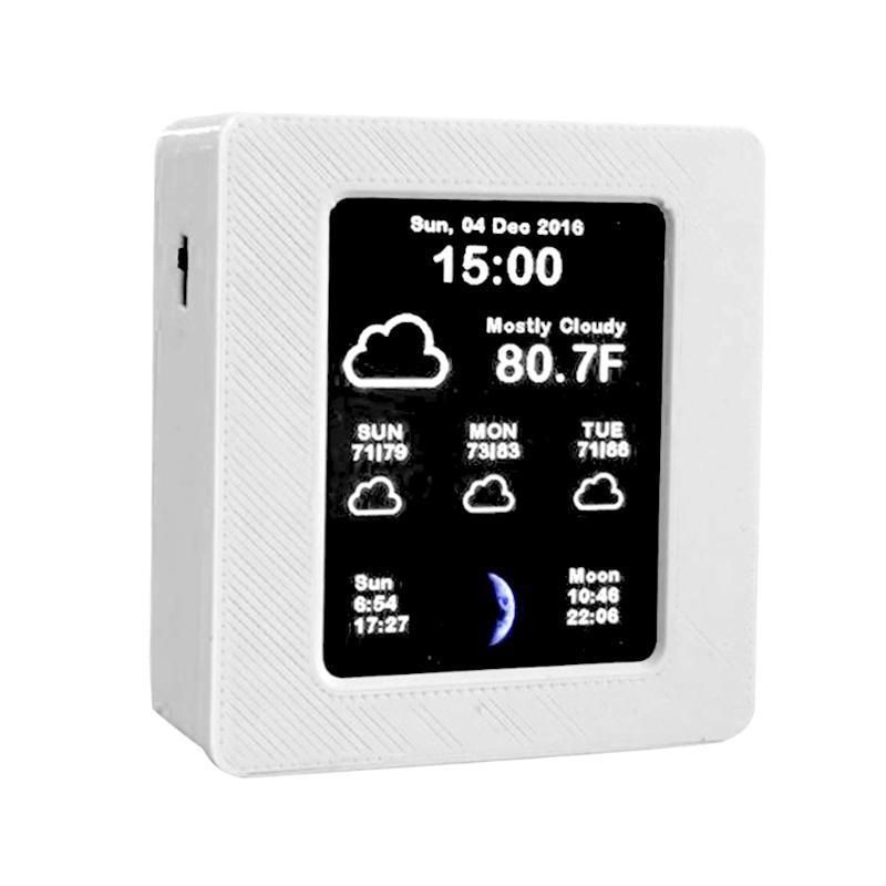 타이머 2.4 인치 TFT 컬러 스크린 가정용 지능형 WiFi 연결 날씨 보고서 시계 시간 데이터 템페레드 디스플레이 USB 충전