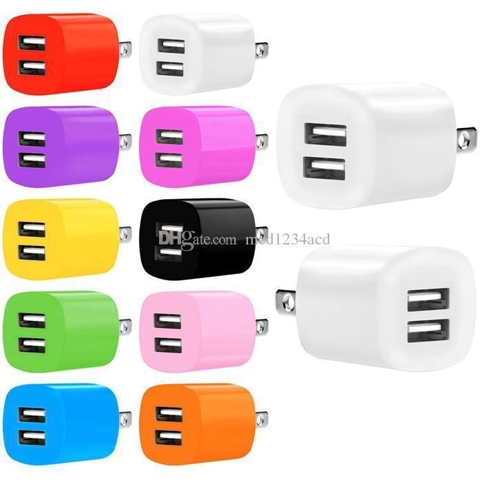 2.1A Dual USB Portas UE AC Home Travel Viagem Carregador Auto Power Adapter para iphone 7 8 x 11 Samsung HTC Android Phone