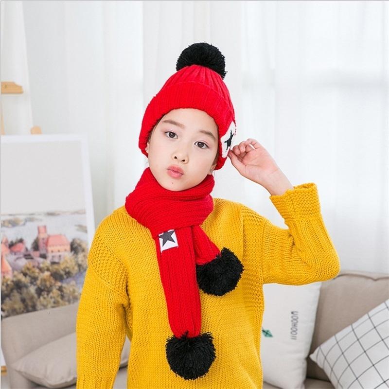 Kids Winter Hats Scarf Sets Winter Knit Warm Pompom Boy Caps Baby Fashion Accesories Girls Autumn Winter Knitted Hat 07 394 K2