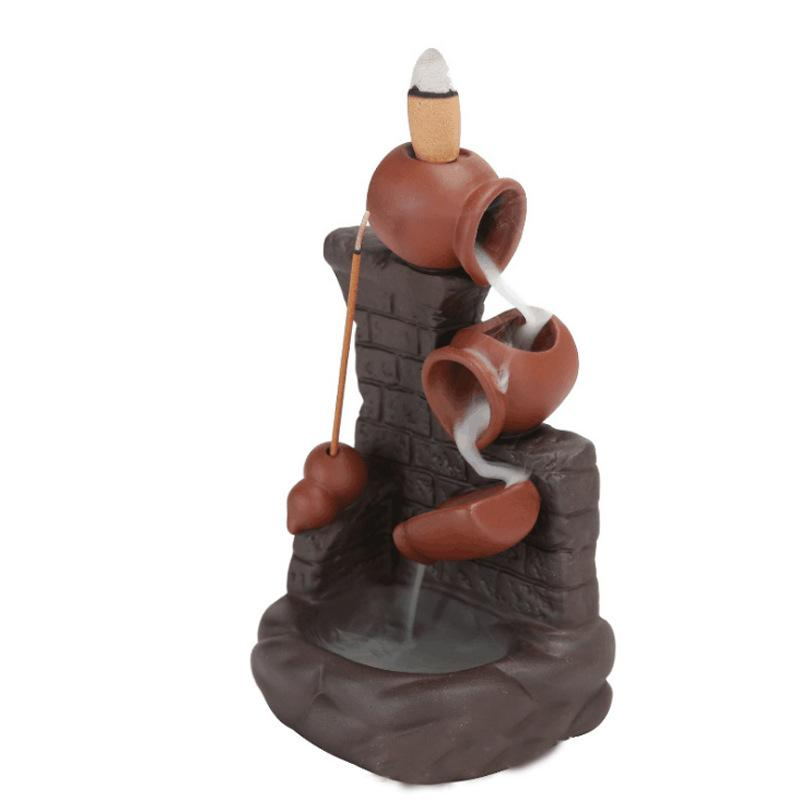 Mor Kum Duman Backflow Tütsü Brülör Pot Tencereye Duvar Tarafından Sopa Tütsü Tutucu Yaratıcı Ev Dekorasyon GWE7148