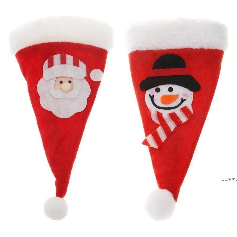 Chapeau de Noël Sac Cutlery Sac Candy Sacs-cadeaux Jolie Couteau à fourche de poche Couteau Candy Porte-Candy Table Dîner Décoratif Vaisselle HHB8853