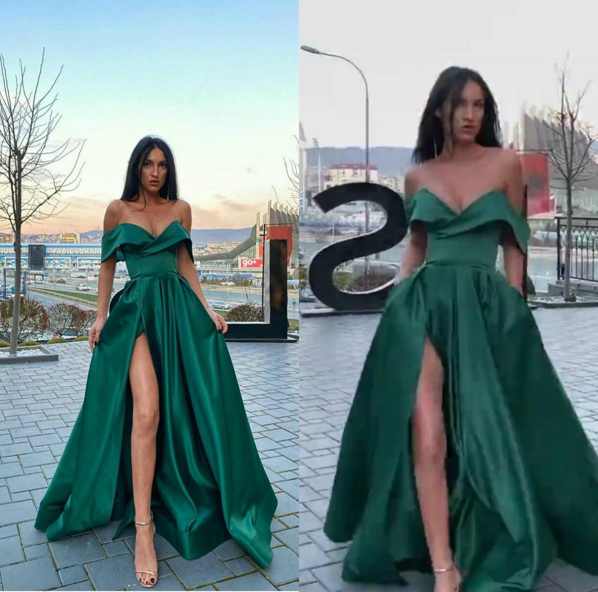Elegante grüne A-Linie Abendkleider Schatz Sleeveless High-Split Party Kleid Satin Günstige bodenlangen formale Abendklege Custom Made