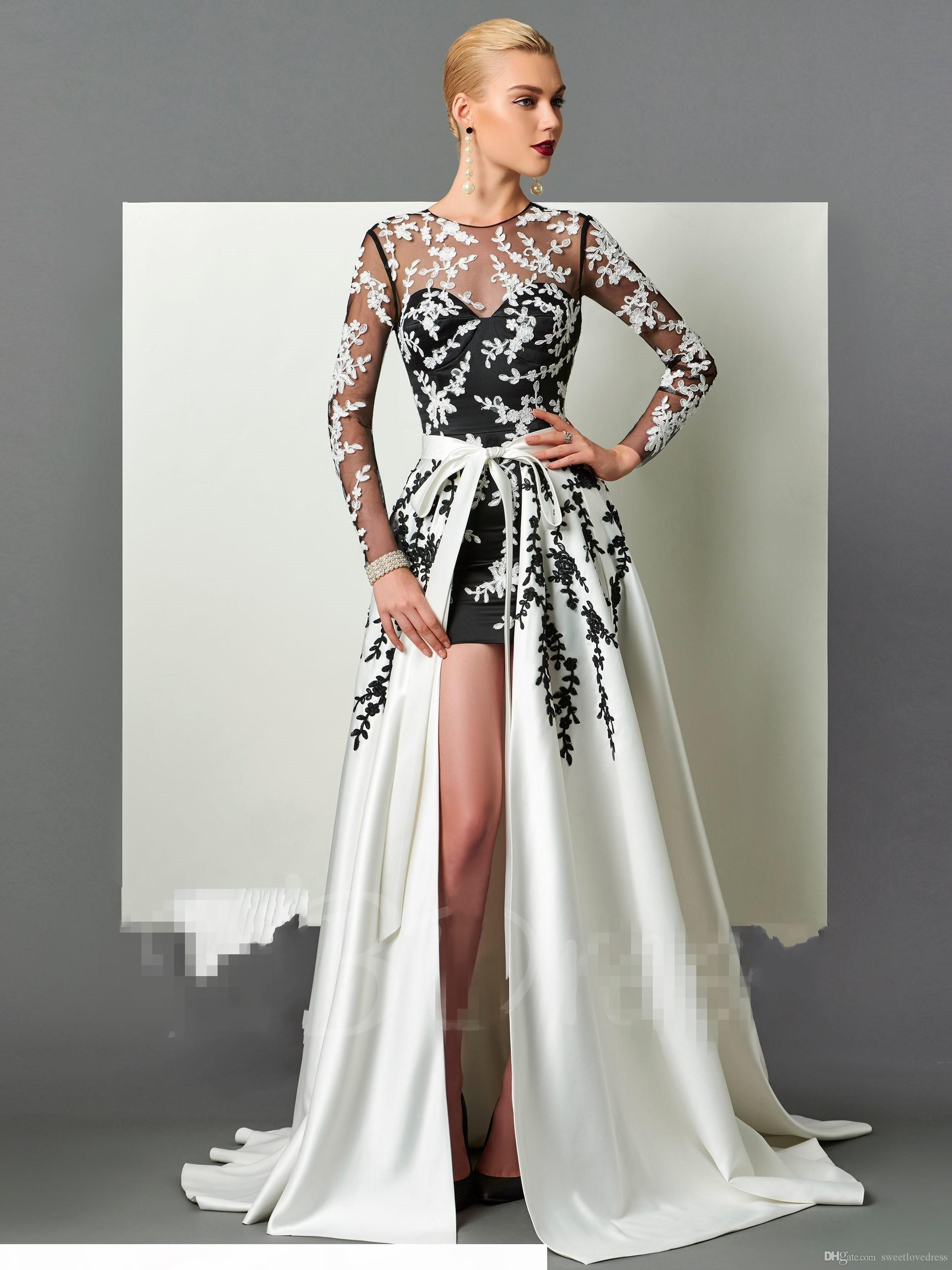 sexy long sleeeves prom dress with A-line detachable 2 in1 applique jewel back hollow elegant evening gown for women
