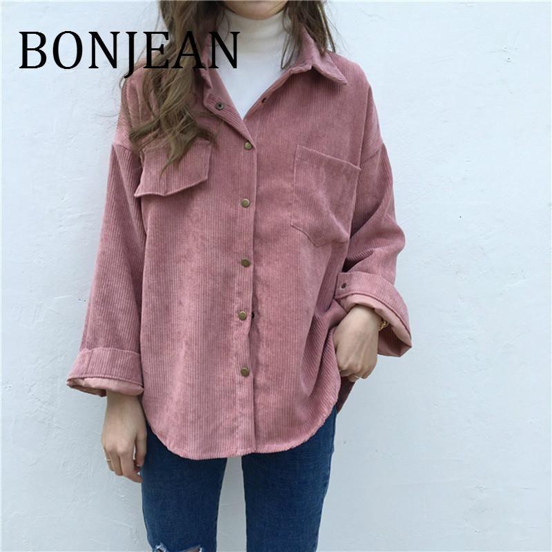 Bonjean Maniche lunghe Camicie Primavera e autunno Top Donne Solid Batwing Sleeve Blusa Camicetta Calda Corduroy Camicette Donne Top BJ1907