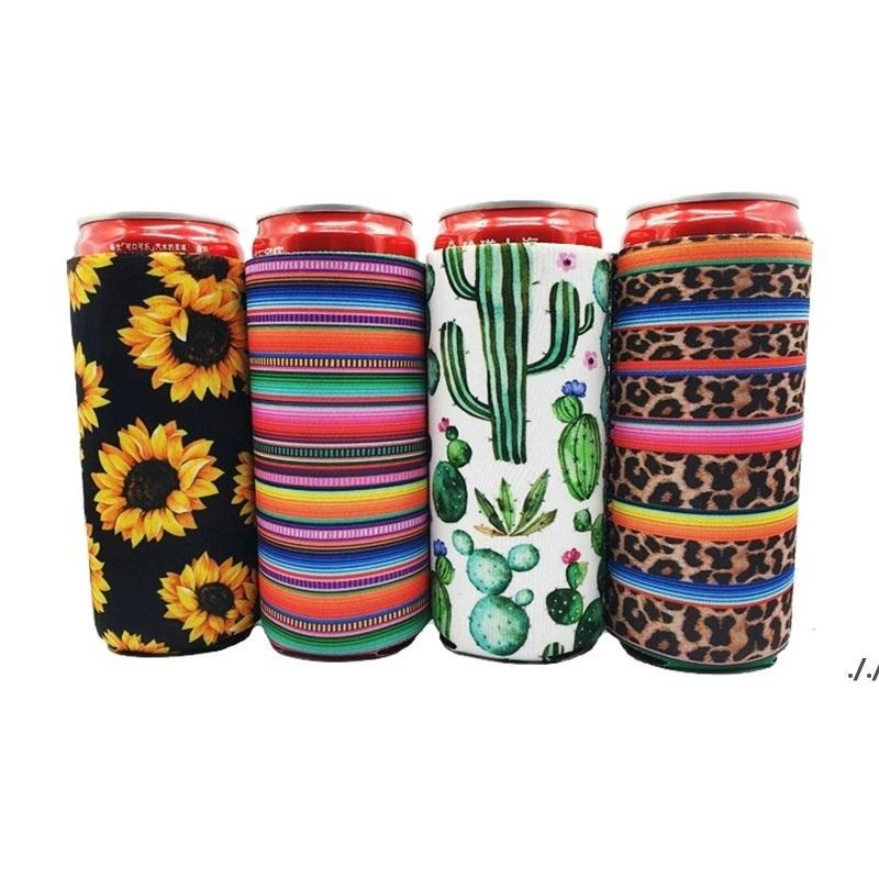17 * 8.5 cm Soğutucu Slim Can Izleyiciler Neopren İçecek Bira Soğutucu Katlanabilir Kola Şişe Koozies Kaktüs Leopar Can Sleeve DWE6165