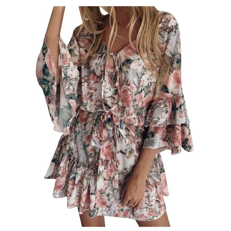 Bayan Elbiseler Varış 2021 Uzun Kollu Çiçek Mini Salıncak Elbise Yaz Tatil Plaj Fırfır Fırın Sundress Vestido De Mujer Rahat