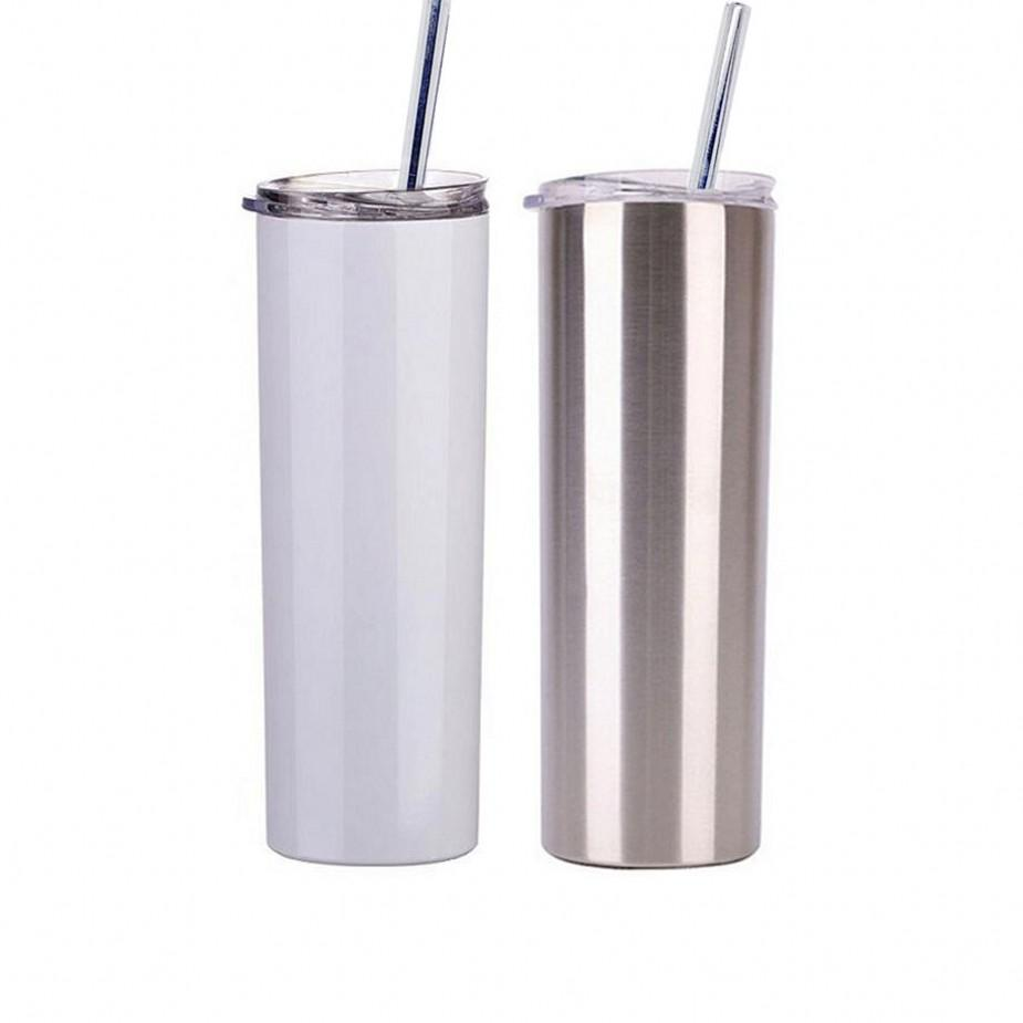 US Stock 20 oz Sublimation Blank Tumbler DIY Straight Stainless Steel Cup Double Wall Car Cups Coffee Beer Mug
