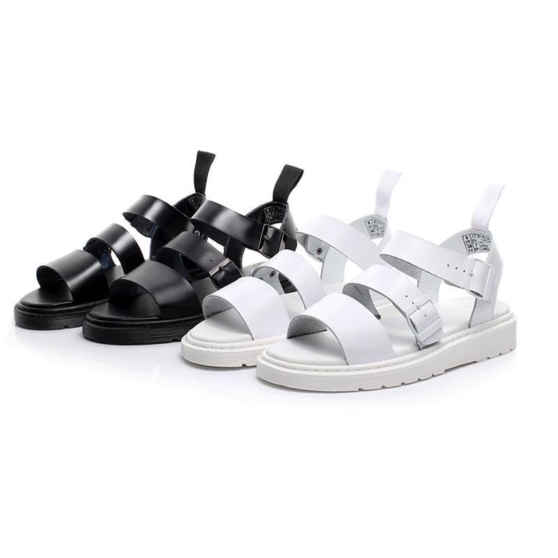 Couro de verão não-deslizamento respirável sandálias masculinas moda romana sapatos casuais preto estilo simples senhoras sandálias