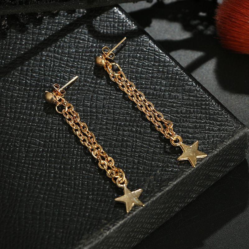 Tassel Star Earrings Gold Color Chain Angle Long Earrings Statement Dangle Ear For Wedding Women Elgant Girls Wholesale Jewelry Gifts 120 G2