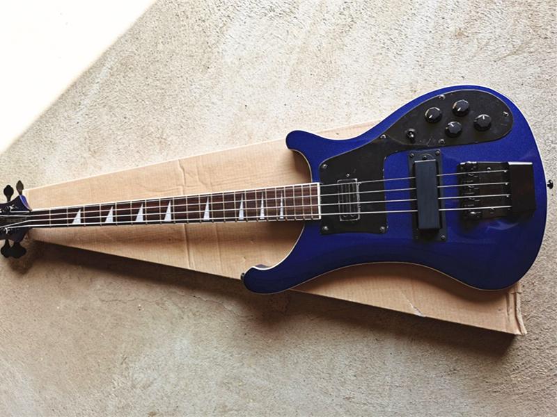 Metalik Mavi 4 Strings Elektrik Bas Gitar Gülağacı Klavye, Siyah Pickguard / Donanım, Özelleştirilmiş Hizmetler Sağlayın