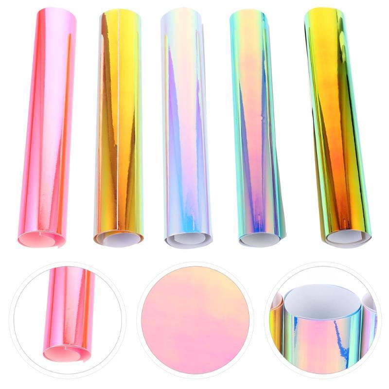 Adesivi per finestre 5pcs Rainbow Color Films Autoadesivo Pellicola di trasferimento PVC per i vestiti