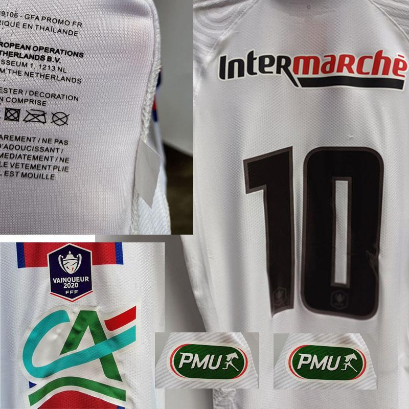 Home Têxtil Liga Francesa Maillot Coupe de France Mbappe Neymar Jr Player Issue Correspondência desgastado Todo SponoSr Patch Badge