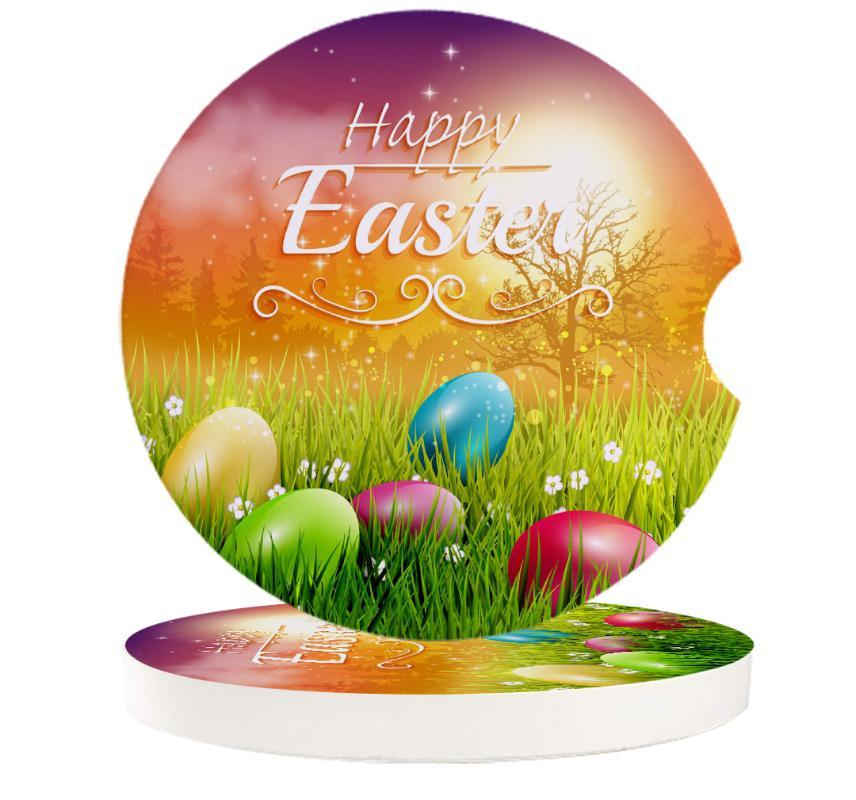 Table Runner Easter Day'S Egg Greeting Card Grass Car Cup Mat Contrast Mug Flower Teacup Pad For Home Decor Accessories