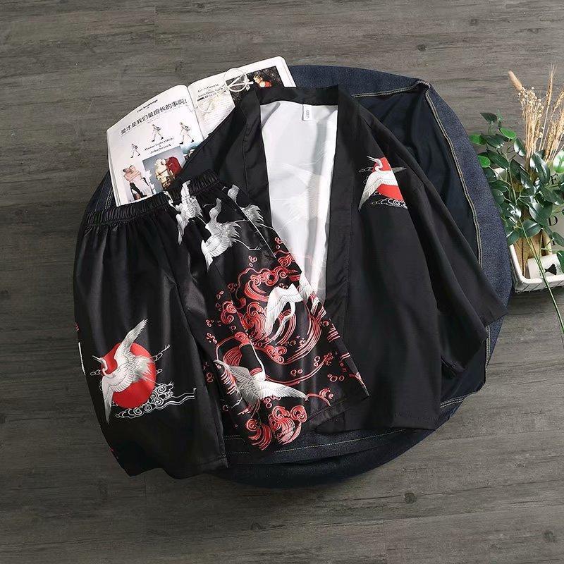 Pajamas Mens Black Yukata Men Summer Boho Kimonos Shorts Beach Suit Haori Asian Clothes Shirt Kimono Cardigan Robe Japanese Ethnic Clothing
