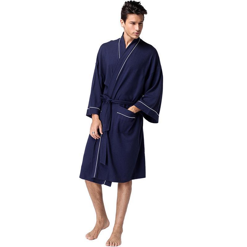 Uomini Primavera e Estate Plus Size Accappatoio Kimono Cotton Molle Soft Bath Robe Accogliente Robelle Notte Notte Abbigliamento da sleepwear Dressing Dressing Gown Pajamas Uomo