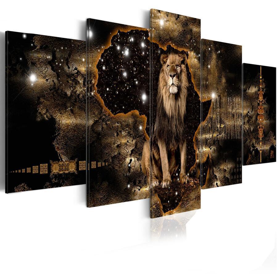 5 штук мода стены искусства холст живопись абстрактная золотая текстура животных льва слон носорога современное украшение дома