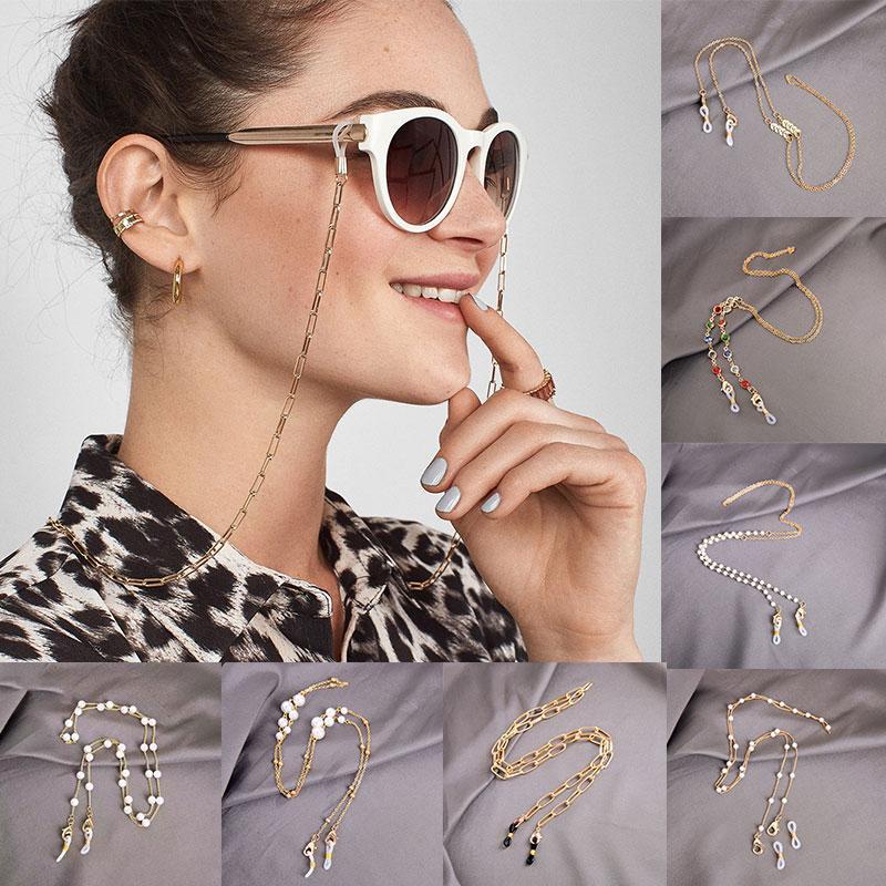 Солнцезащитные очки Рамки 1 шт. Очки цепи Акриловые жемчужины Кристалл Бисер против падения Маска Цепи Орена