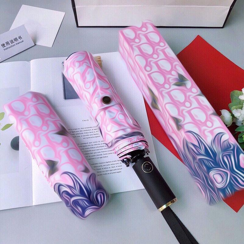 Designer Luxury Big Windproof Folding Umbrellas Colorful Three-folded 8Ribs Gentle Creative Gift home decor 211