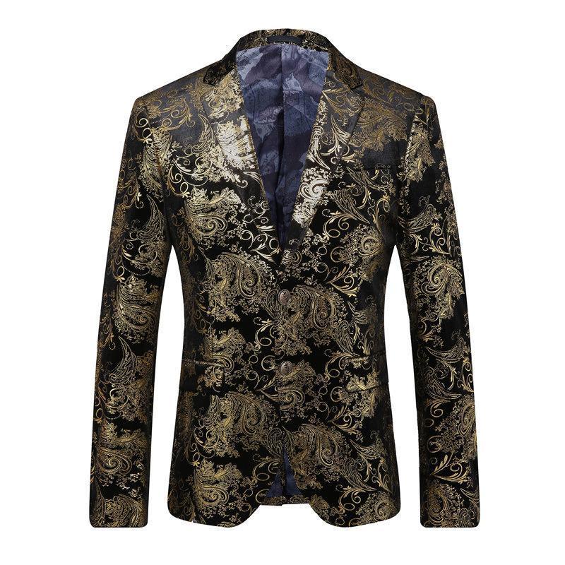 Giacca a maniche lunghe da uomo stampato uomo stampato uomo Slim Blazer Dress Abbigliamento Abbigliamento Abbigliamento Due bottoni Cappotto Cappotto Abiti Blazer