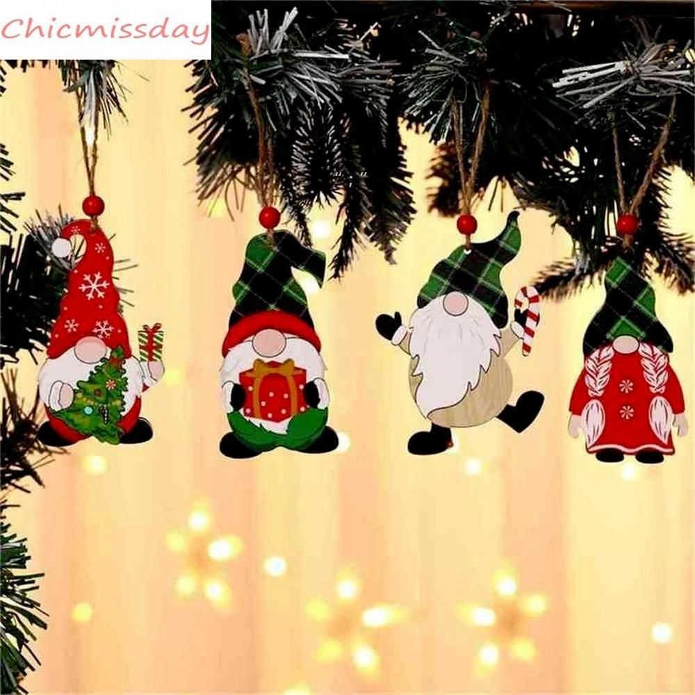 Decorations Paint Wooden Pendant House Car Christmas Tree Faceless Old Man Rudolph Pattern Pendant Indoor Party Decoration OWE9737