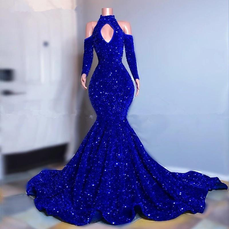 Luxury Blue Mermaid Prom Dresses Glitter Sequins Hollow Bust High Neck Long Sleeves Plus Size Party Evening Dress Sweep Train Pageant Marriage Wear