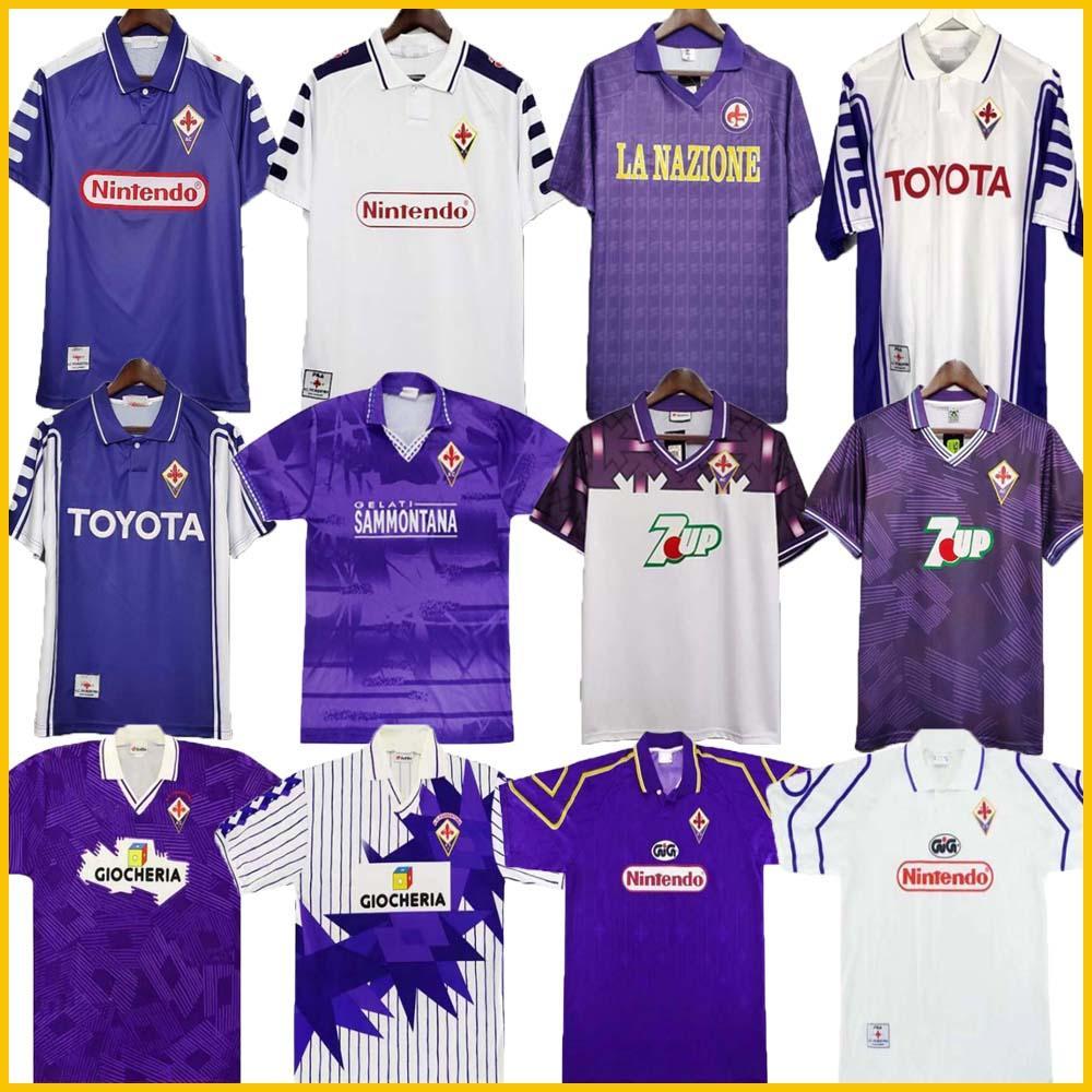 Fiorentina Retro Fúltbol Jersey 91 92 93 94 95 96 97 98 99 00 Batistuta Rui Costa Costa Vintage Casa Camisa de Futebol 2000 Camisas de Futebol