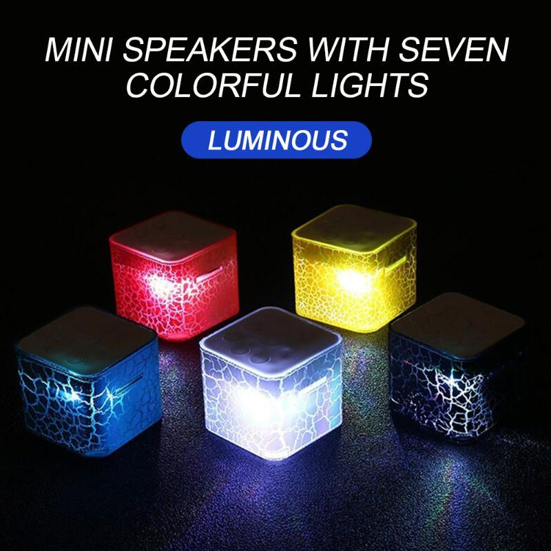 & MP4 Players Mini Speaker LED Fashion Nightlight Colorful Lightweight MP3 Player Leopard Light Water Cube Support TF Card