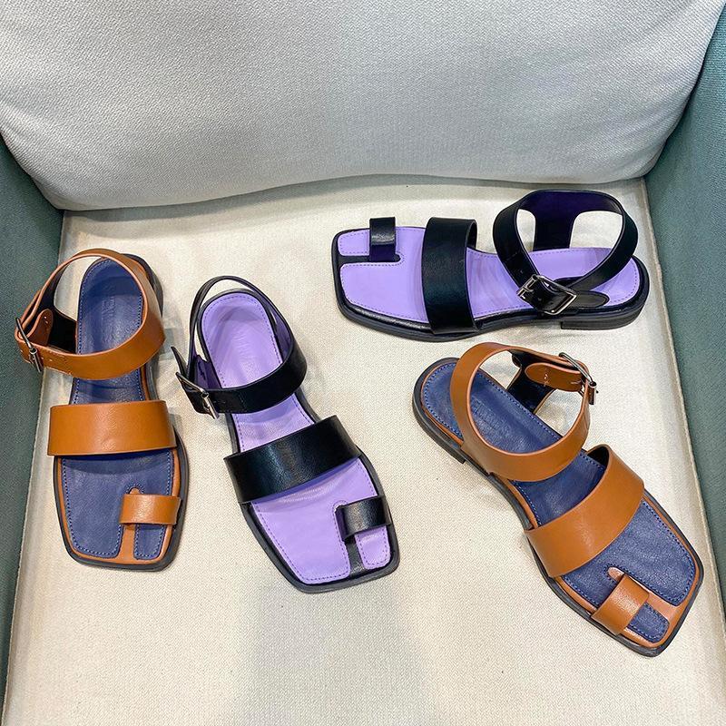 الرومانية كليب سبليت تو ضيق الفرقة sandalias موهير سميكة ميد عالية الكعب femmes sandales مختلط لون مربع طبي النينجا الصنادل