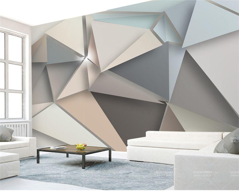 3D duvar kağıdı modern minimalist tarzı üç boyutlu geometrik üçgen desen oturma odası yatak odası dekorasyon duvar duvar kağıtları