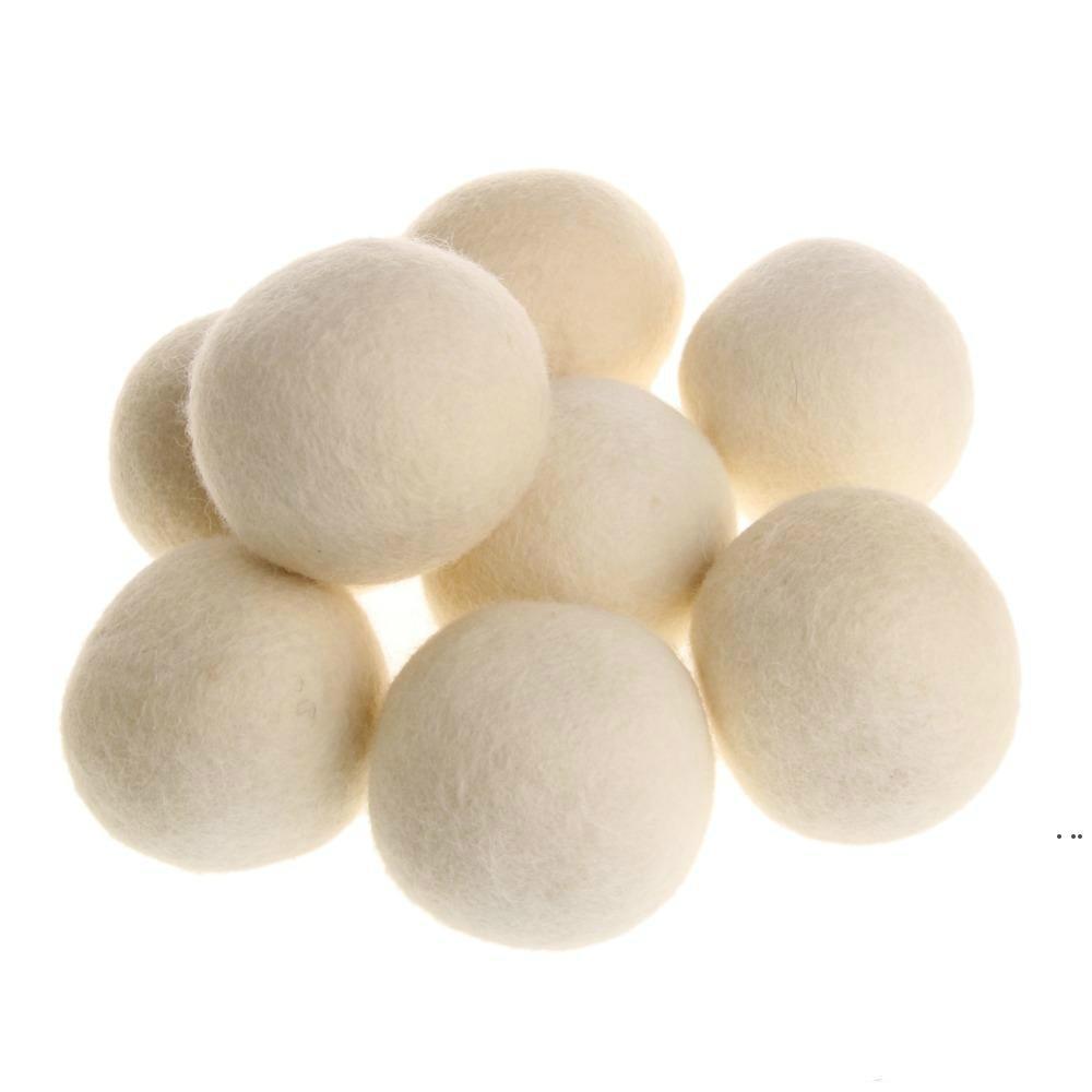 منتجات غسيل عملية نظيفة الكرة قابلة لإعادة الاستخدام النسيج العضوي الطبيعي المنقي بريميوم كرات مجفف الصوف HWE5893