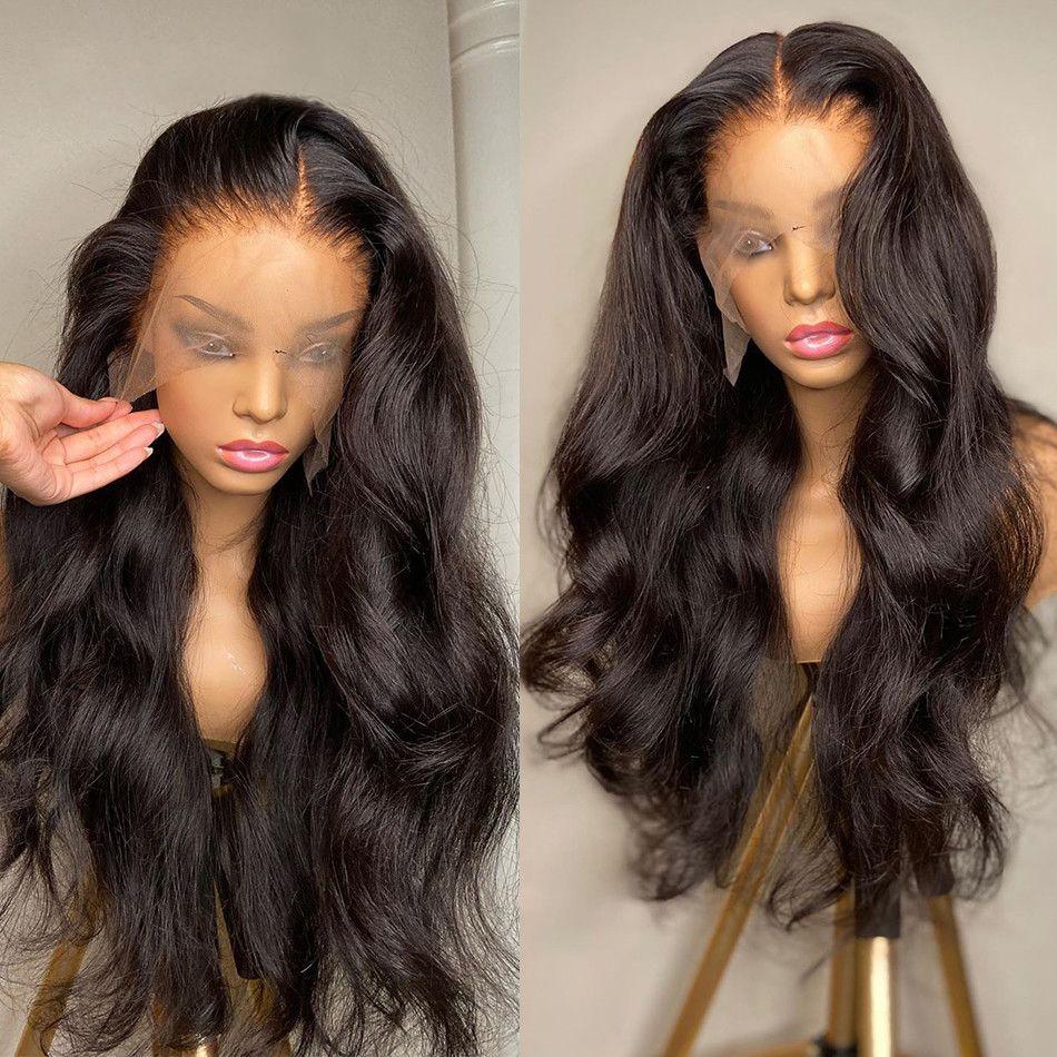 30 32 34 36 38 40 인치 바디 웨이브 인간의 머리 가발 4x4 5x5 13x4 레이스 가발 흑인 여성용 사전 뽑아