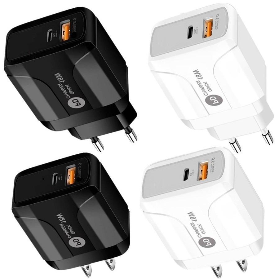 عالمي 2 في 1 PD نوع C شاحن الجدار QC3.0 محول الطاقة EU الولايات المتحدة التوصيل ل iPhone 7 8 11 12 Samsung LG