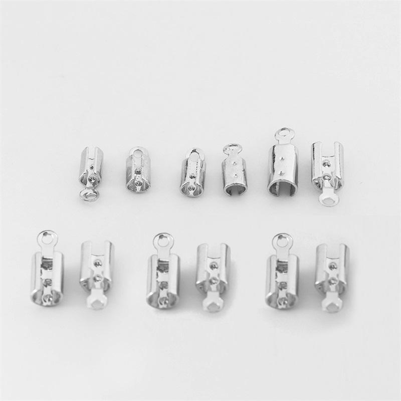 50 stücke 1-5mm Edelstahl Lederband Crimp Perlen Endkappen Befestigungselement Armband Halskette Steckverbinder Für Schmuckherstellung Lieferungen 1559 Q2