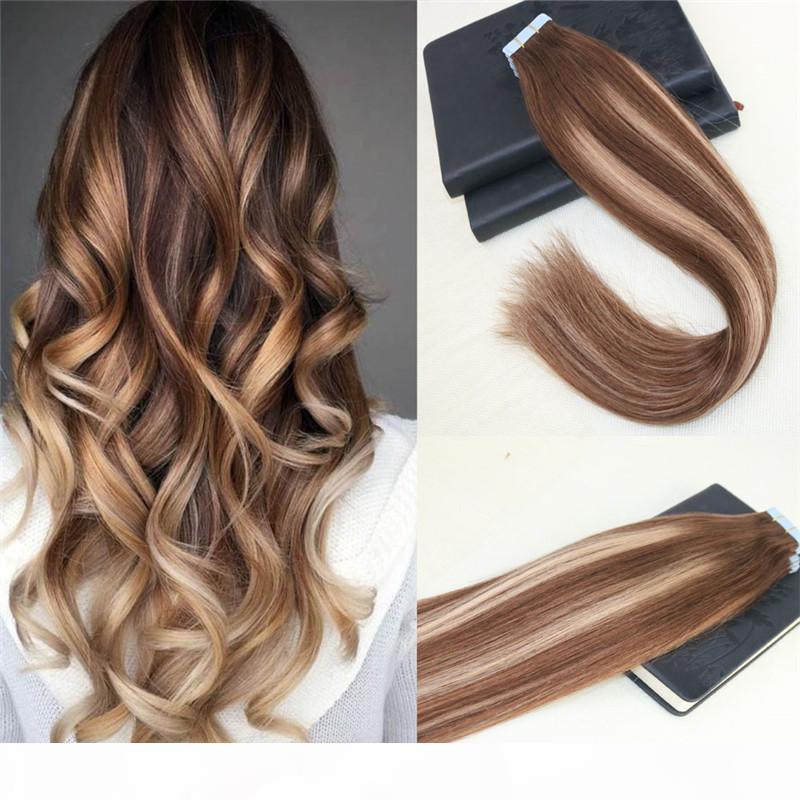 40 pcs Remy Brazilian Hair Balayage # 4 desbotando para # 27 Omber Skife Tape em extensões de cabelo humano fita reta em extensões de cabelo 100g