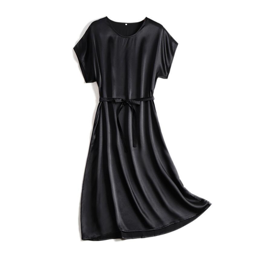 Suyadream Kadın Midi Elbise 100% Ipek Saten Katı Yarasa Kollu Sashes Elbiseler 2021 İlkbahar Yaz Yeşil Siyah Chic Elbiseler