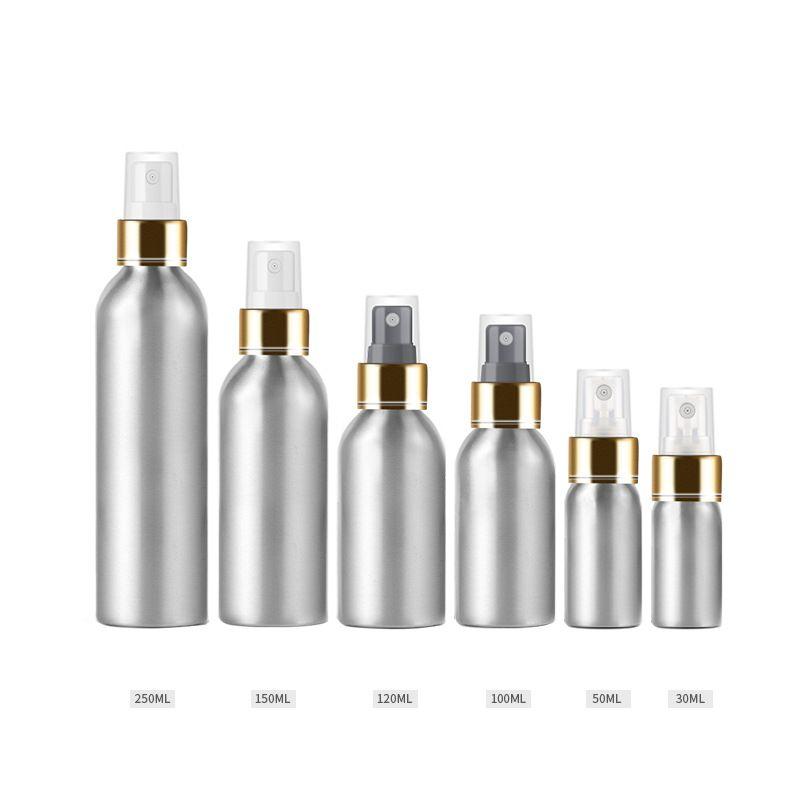 100ml 150ml 4oz 8oz Alüminyum Sprey Şişesi Taşınabilir Mini Parfüm Şişeleri Boş Doldurulabilir Kozmetik Gümüş Püskürtücü Atomizer
