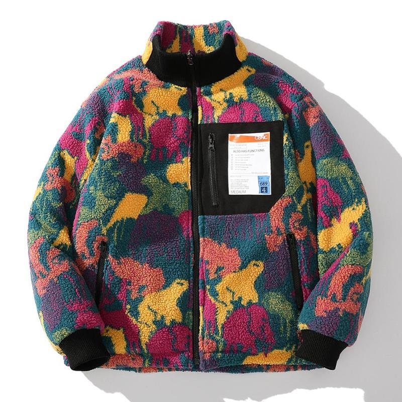 힙합 위장 가역 재킷 두꺼운 파카 남성 가로류 겨울 패딩 코트 하라주쿠 따뜻한 양쪽 윈드 브레이커 남자 다운 파카