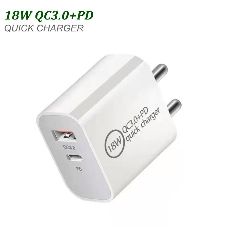 18 W Szybka ładowarka USB Typ C PD Szybkie ładowanie dla Smartphone EU wtyczkę US z ładowaczami telefonów QC 3.0