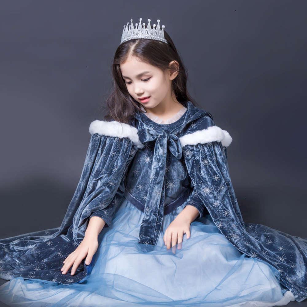 Robes de filles cuites à la glace et de neige wonderland peluche principe jupe enfants d'automne étranger Sle Poncho fille drrs