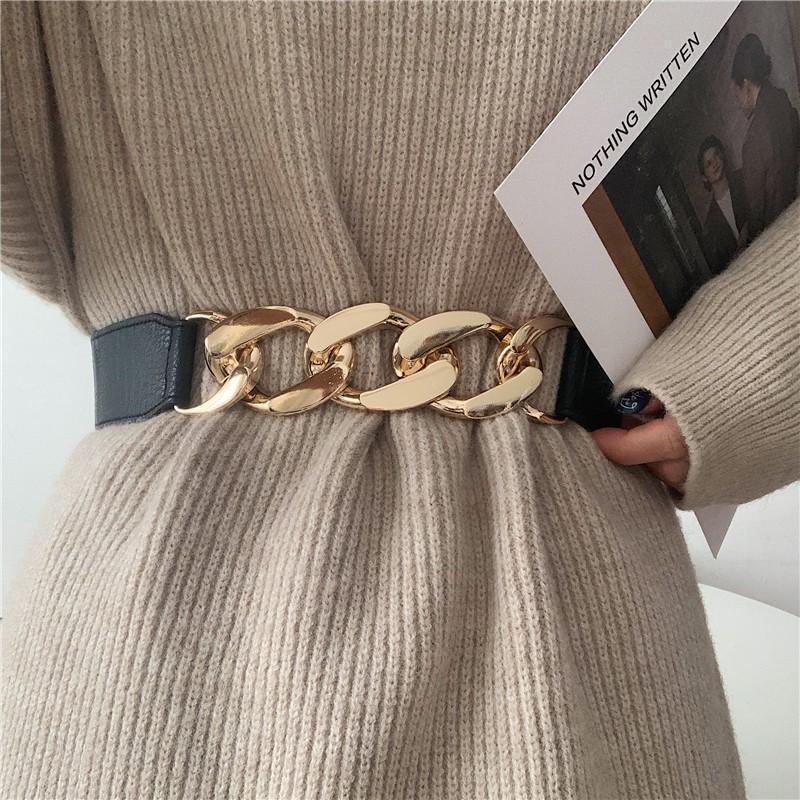 Cintos Prata Big Chain Cinto Design Especial Nenhuma fivela Waistbands Black Elastic Wide CummerBunds Peso Correntes de Vestido Casaco Decorar