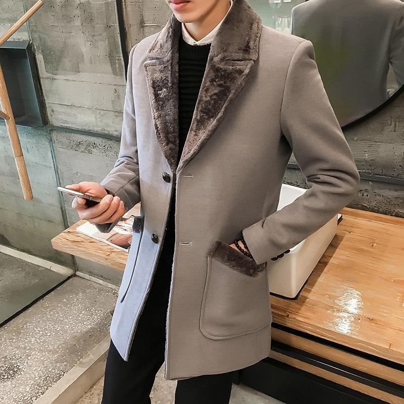 Männer Wollmischungen Schöner Winter Windjacke Langer Abschnitt plus Samt Warme Mantel Mode Slim Pelzkragen Massivfarbe Wollgröße S-5XL