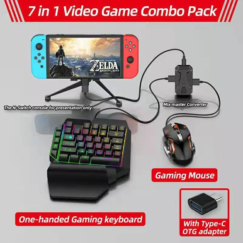 7 in 1 Bluetooth Gaming Keyboard Mouse Converter Combo for Smartphone PC PUBG Mobile Game PS3/PS4/Xbox Games Accessories