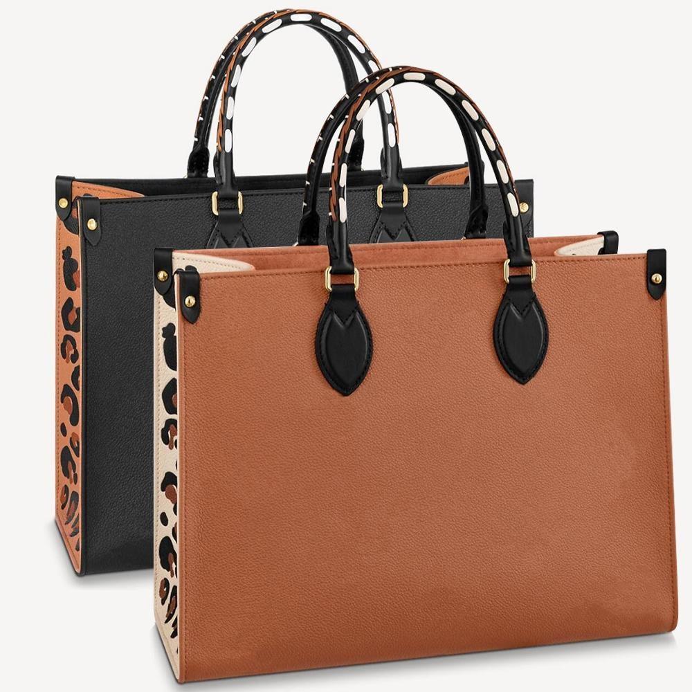M58521 m58522 дизайнерские женщины onthego хозяйственная сумка плетеная кожаная кожаная кожа в сердце leopard-print роскошная сумка сумка сумка для плеч
