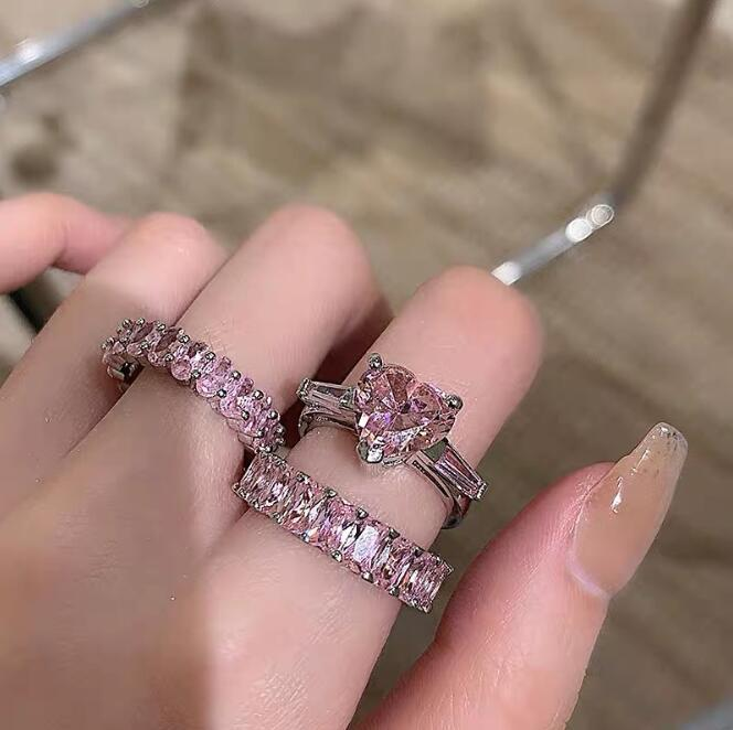 Ins Sweet Cute Wedding Rings Fashion Jewelry 925 Sterling Silver Fill Heart Shape Pink Topaz CZ Diamond Gemstones Promise Eternity Party Women Engagement Band Ring
