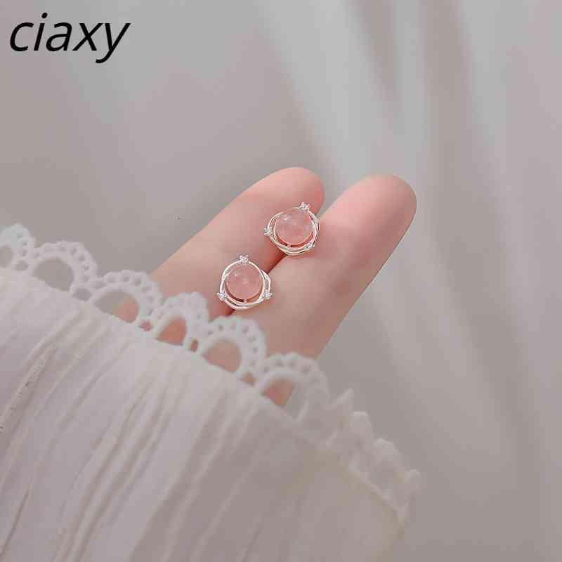 CIAXY 925 Estudio de Rhodocoshite Sterling Sierl For Women Corean Fashion Nice Crystal Pendientes Joyería Simple