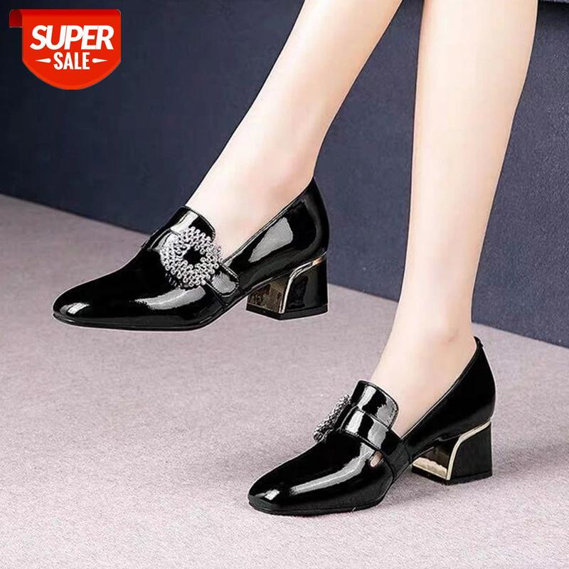 Plus Size Women Pumps Rhinestone Buckle Boat Shoes Patent Leather Dress Square Toe Ladies Office zapatos mujer #TE8z