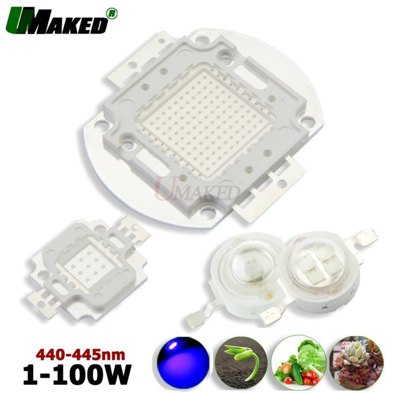 높은 전원 LED 성장 빛 칩 1W 3W 5W 10W 20W 30W 50W 100W 스팟 칩 블루 440nm 33mil / 45mil 식물 성장 SMD COB 다이오드 조명