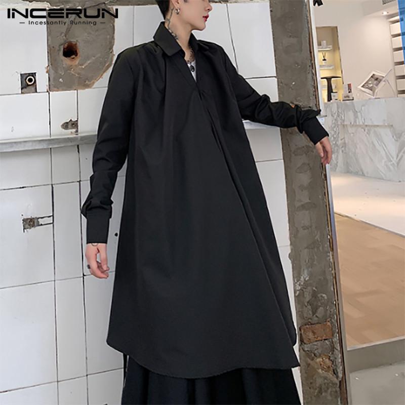 패션 솔리드 컬러 긴 셔츠 남성 불규칙한 레이스 업 카메인 캐주얼 버튼 블라우스 스트리트웨어 슬리브 옷깃 chemise 남자